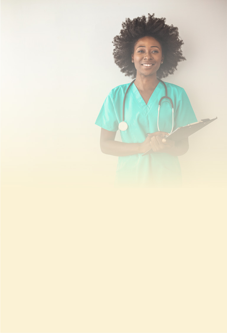 nurse or personal support worker wearing scrubs holding pen and clipboard
