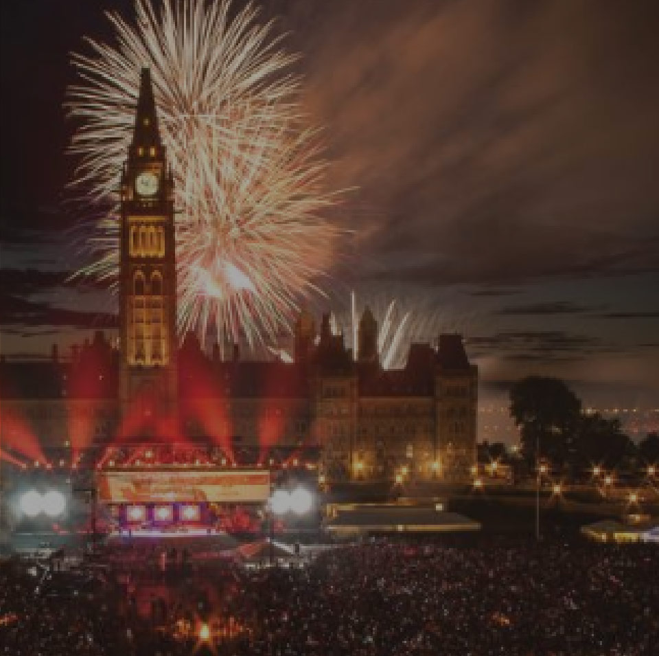 Canada Day celebrations at Parliament Hill. Fireworks in background.